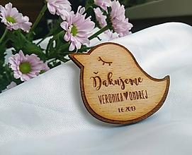 Darčeky pre svadobčanov - Svadobné magnetky . vtáčik - 10967116_
