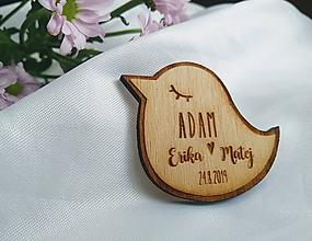 Darčeky pre svadobčanov - Svadobné menovky magnetky . vtáčik - 10967144_