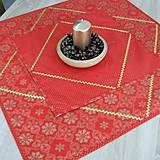 Úžitkový textil - SIMONA 2 - Zlaté vločky a bodky na červenej - štvorec - 10967036_