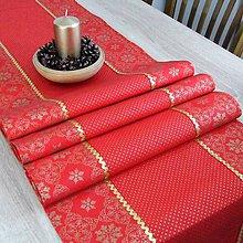 Úžitkový textil - SIMONA 1 - Zlaté vločky a bodky na červenej  - stredový obrus - 10966236_