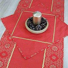 Úžitkový textil - SIMONA 1 - Zlaté vločky a bodky na červenej - štvorec 40x40 - 10966635_