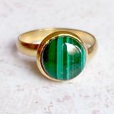 Prstene - Elegant Malachite Stainless Steel Golden Ring / Elegantný prsteň s malachitom - oceľ - 10970048_