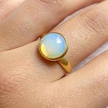 Prstene - Elegant Opalite Stainless Steel Golden Ring / Elegantný prsteň s opalitom - oceľ - 10970053_