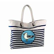 Veľké tašky - Modrobílá taška Racek - 10969155_