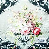 Papier - S1423 - Servítky - vintage, kytica, secesia, ornament, kvety - 10968141_