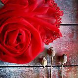 Šály - O lásce šeptají - červený průhledný šál - 10968390_
