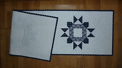 Úžitkový textil - Obrus, štóla na stôl modrotlačová - 10970125_