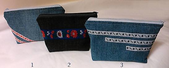 Taštičky - kozmetická taštička jeans folk - 10970495_