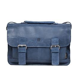 Veľké tašky - Kožená taška modrá BOSTON 02 - 10968705_