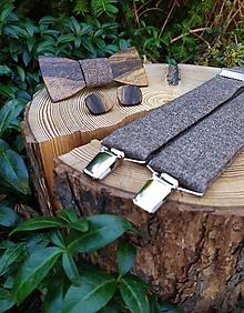 Doplnky - Pánsky drevený motýlik, manžetové gombíky a traky - 10968589_