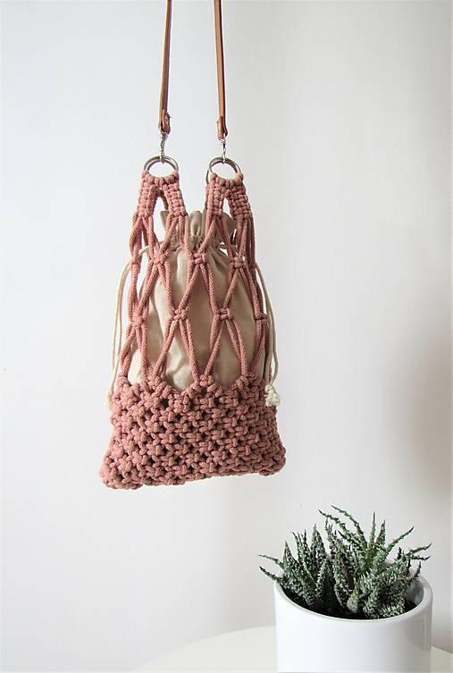 Kabelky - Makramé taška ZOYA (Ružová) - 10970137_