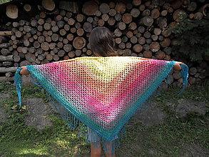 Šatky - Veľká háčkovaná šatka v letných farbách - 10968501_
