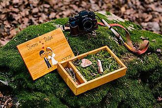Krabičky - Svadobna drevená krabička na svadobné fotky a USB jednoduchý svadobný dizajn - 10970309_