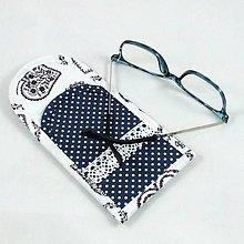 Úžitkový textil - Pre knihomoľov - puzdro na okuliare - folklórne modro-biele - 10968894_