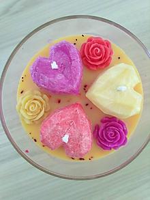 Svietidlá a sviečky - Sviečka - Srdiečková láska - žlto červená - 10970453_