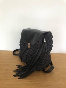 Batohy - Háčkovaný čierny ruksak - 10968342_