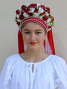 Ozdoby do vlasov - Svadobná parta 'A' (Červená) - 10969630_