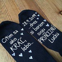 """Obuv - Maľované ponožky pre ženícha vo farbách: (biela + ružová s menom """"princeznej"""") - 10970297_"""
