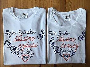 Tričká - Maľované tričká pre mladomanželov s ľudovým motívom a nápismi : (Variant s menami) - 10970310_
