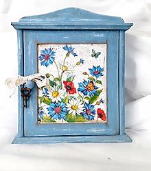 Nábytok - skrinka na kľúče lúčne kvety - 10970408_