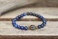 Náramok z minerálu lapis lazuli, hematit a korálka z Nepálu