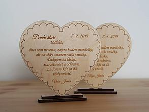 Darčeky pre svadobčanov - Poďakovanie starým rodičom srdiečko - 10971714_
