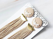 Náušnice - Buttonky so strapcom. Béžové - 10972944_