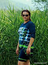 Topy, tričká, tielka - Dámske krátke nohavice a tričko (tunika), šité, maľované, batikované  FOENICULUM - 10972343_