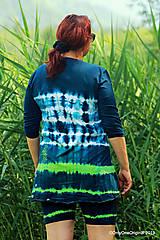 Topy, tričká, tielka - Dámske krátke nohavice a tričko (tunika), šité, maľované, batikované  FOENICULUM - 10972365_