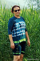 Topy, tričká, tielka - Dámske krátke nohavice a tričko (tunika), šité, maľované, batikované  FOENICULUM - 10972367_