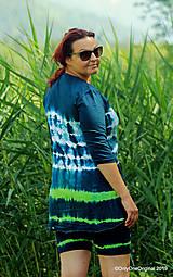 Topy, tričká, tielka - Dámske krátke nohavice a tričko (tunika), šité, maľované, batikované  FOENICULUM - 10972388_