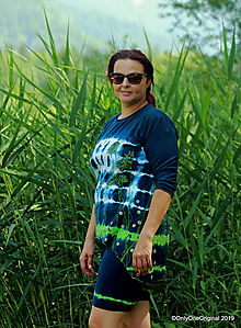 Tričká - Dámske krátke nohavice a tričko (tunika), šité, maľované, batikované  FOENICULUM - 10972343_