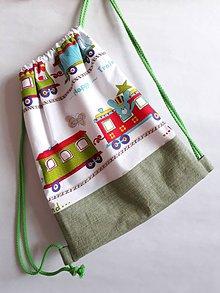 Detské tašky - Vrecúško na prezuvky - vak- ruksak- pre deti (Zelená) - 10972536_