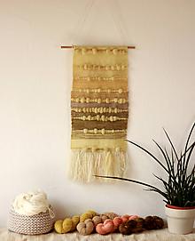 Dekorácie - SUNKISSED FIELDS Ručne tkaná vlnená tapiséria - 10972482_