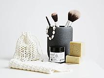 Úžitkový textil - Ľanové vrecko na mydlo + kúpeľňová žinka - 10971595_