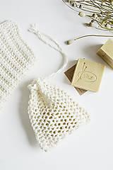 Úžitkový textil - Ľanové vrecko na mydlo + kúpeľňová žinka - 10971597_