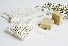 Úžitkový textil - Ľanové vrecko na mydlo + kúpeľňová žinka - 10971598_