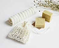 Úžitkový textil - Ľanové vrecko na mydlo + kúpeľňová žinka - 10971607_
