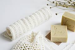 Úžitkový textil - Ľanové vrecko na mydlo + kúpeľňová žinka - 10971626_