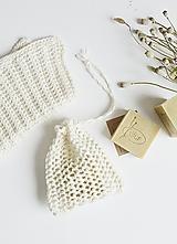 Úžitkový textil - Ľanové vrecko na mydlo + kúpeľňová žinka - 10971709_