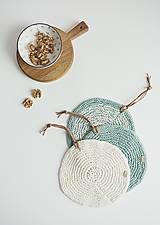 Úžitkový textil - Pletená okrúhla chňapka/podložka (zelená šalvia/maslová) - 10972563_