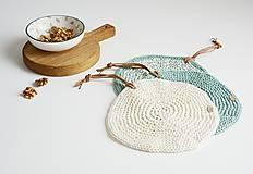 Úžitkový textil - Pletená okrúhla chňapka/podložka (zelená šalvia/maslová) - 10972564_