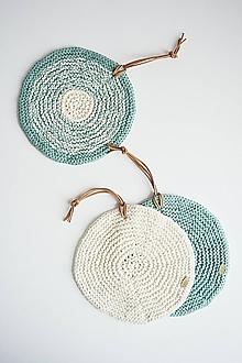 Úžitkový textil - Pletená okrúhla chňapka/podložka (zelená šalvia/maslová) - 10972577_