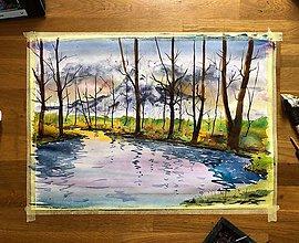 Obrazy - Rieka, stromy a hory - 10971483_