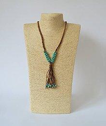 Náhrdelníky - Kožený náhrdelník, šperky v egyptskom štýle - 10971502_