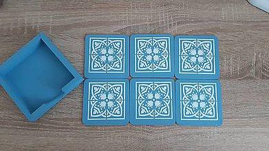 Pomôcky - Drevené dlaždičky pod pohare (Modrá) - 10971045_