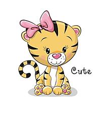 Galantéria - Nažehľovačka Tigríča s mašľou veľká - 10973380_
