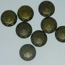 Iný materiál - Našívacie kamienky kruhové bronzové 20mm - 10972862_