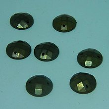 Iný materiál - Našívacie kamienky kruhové bronzové 12mm povrch štvorčekový - 10972938_