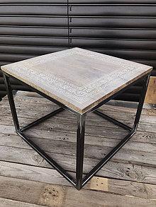 Nábytok - Industriálny konferenčný stolík s ornamentom - 10970981_